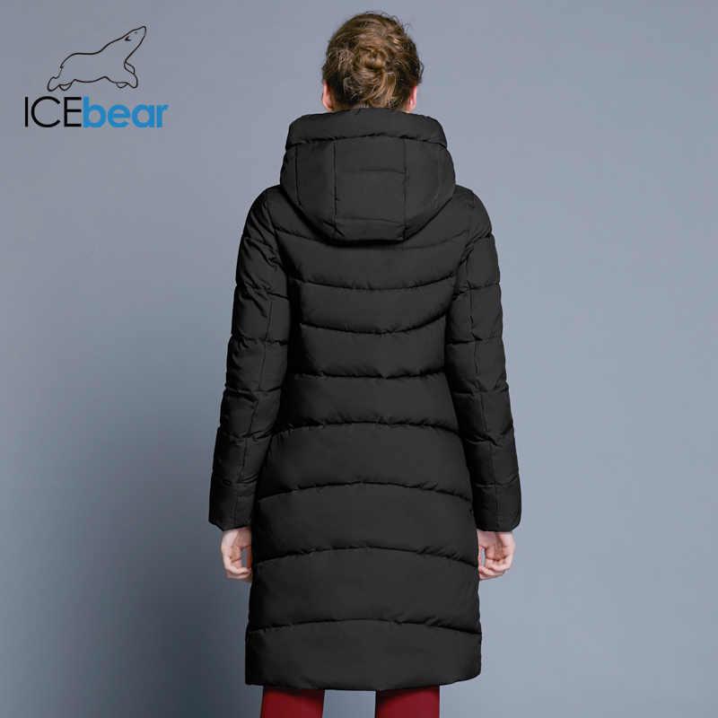 ICEbear 2019 nuevo abrigo de invierno de alta calidad para mujer chaqueta con capucha a prueba de viento ropa larga para mujer cremallera de metal de alta calidad GWD18101D