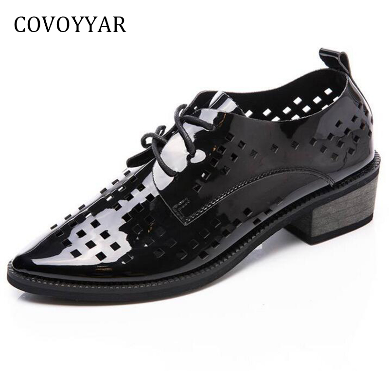 COVOYYAR Patent Leather Flat Shoes Women 2018 Spring Autumn Breathable Brogue Shoes Pointed Toe Lace Up Lady Flats WFS809 baiclothing women casual pointed toe flat shoes lady cool spring pu leather flats female white office shoes sapatos femininos