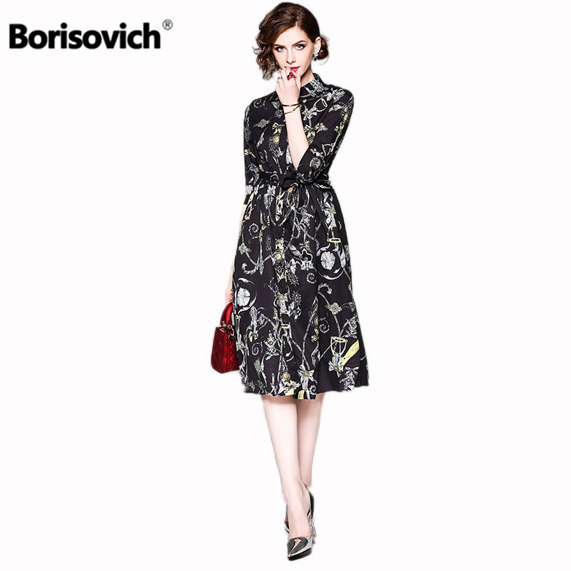 Borisovich New Arrival 2018 Summer Fashion Turn-down Collar Knee-length Pleated Dress Womem Elegant Floral Print Dress M344 ...