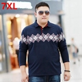 big man winter thermal polo add fertilizer XL 6XL plus size velvet Shirt Size Lapel long sleeved thickened male male 7XL