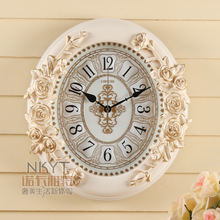 TUDA2017 li sheng pastoraleglantine wall clock retro clock European wall clock sitting room quiet artistic quartz clock wall