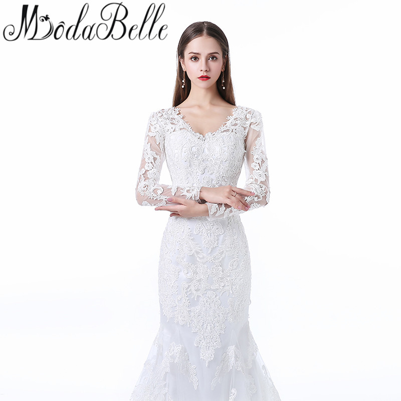 US $189.0 30% OFF|Modabelle 2017 Plus Size Wedding Dresses Mermaid Style  Long Sleeve Bridal Dress Beach Lace Wedding Gowns Vestido Noiva Simples-in  ...