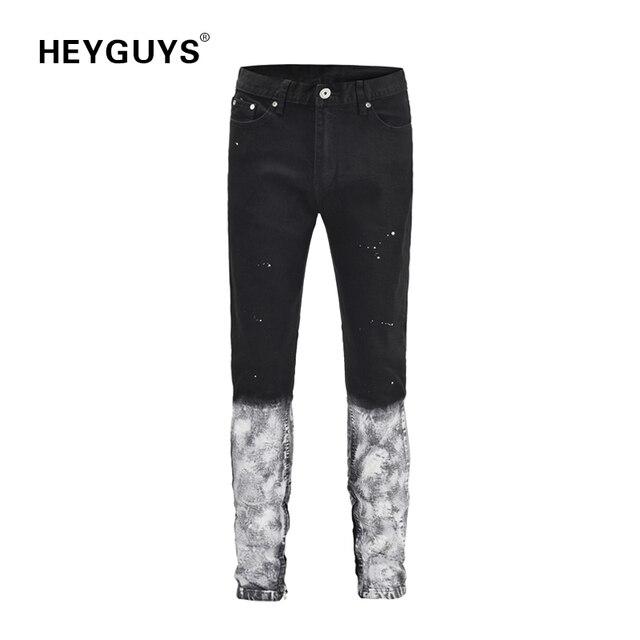 HEYGUYS Moda hombre jeans fitness nuevo diseño pantalones hombres calle  desgaste hip hop hombres ropa cool 969e40f08a4