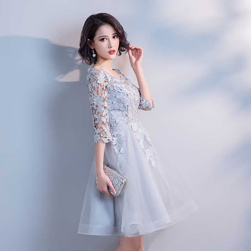 ... Aswomoye Silver Short Evening Dress 2018 New Stylish Illusion O-Neck  Prom Dress Half Sleeve ... 91902b013f5a