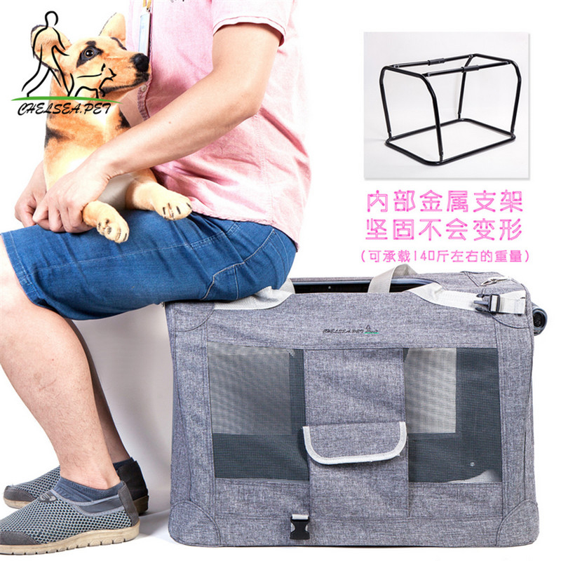 Soft Sided Pet Carrier with Steel Frame Dog House Style Portable Pet Crate for Cats Dogs Designed for Pet Comfort Safety Padded