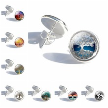 Tree of Life Tibetan Stud Earrings Women Girls Fashion Glass Crystal Silver Alloy Jewelry