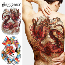 1 Sheet Big Large Full Back Chest Tattoo Sticker Wolf Tiger Dragon 20 Designs Body Art Temporary Waterproof for Women Men