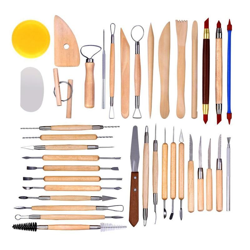 38 pièces En Céramique outil de gravure Argile Sculpture En Plastique Appuyant Sur L'outil D'argile En Bois Poignée Main outil de gravure Multifonctionnel Combinaison