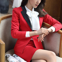 Plus Size 4xl Women Skirt Suits Set Business Formal Long Sleeve Patchwork Blazer And Skirt Office Ladies Black Red Work Uniforms