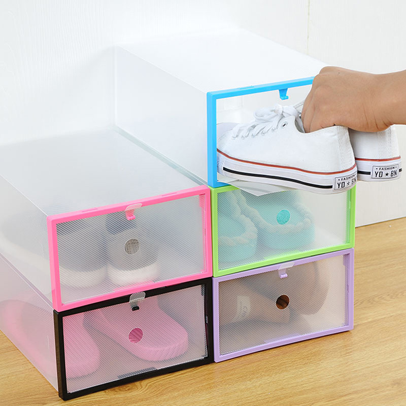 Multifunctional Colored Transparent Plastic Clamshell Shoebox Storage Box DIY Folding Drawer Shoe Boots Organizing Boxes