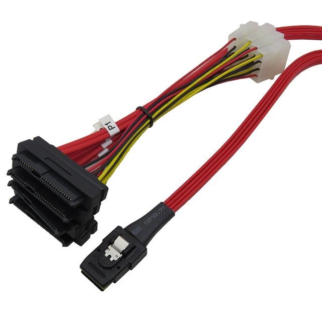 3Ware red  SFF 8087 Mini SAS to SFF 8482 x4 Fanout SAS Cable 1M