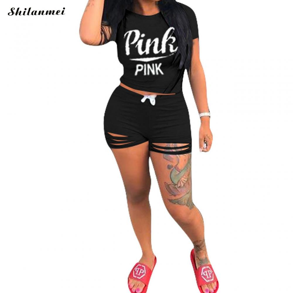Cotton Ripped Plus Size Women Sets Casual Set Casual Short Sleeve Two Piece Top And Shorts Sport Pink Women Set 2019 Price $17.59