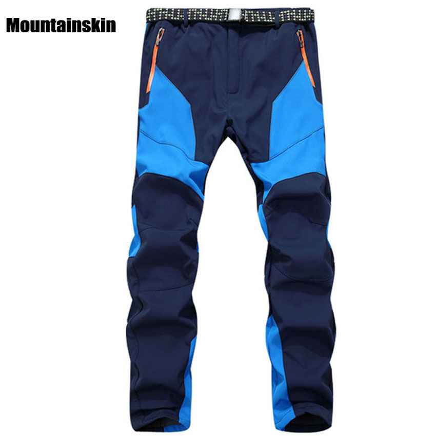 Winter Men Outdoor Hiking Fleece Camping Pants Waterproof Windbreaker Thick Warm Trousers Male Inner Fleece Softshell Pant RM141