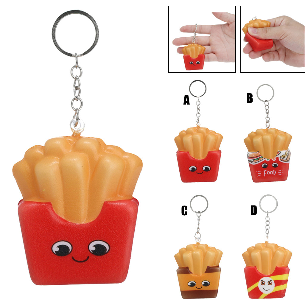 2019 NEW Style Squishies Kawaii Cartoon French Fries Chips Slow Rising Cream Scented Keychain Stress Relief W509