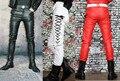 Inverno skinny slim calças de couro do falso couro sweatpants corredores suor calças dos homens para homens cor preto branco vermelho 28-37
