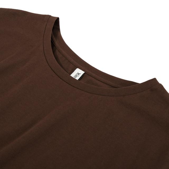100% cotton Loose Casual Summer Short Sleeve Female T shirt Women  asymmetric O-neck Tee Tops M30326 4