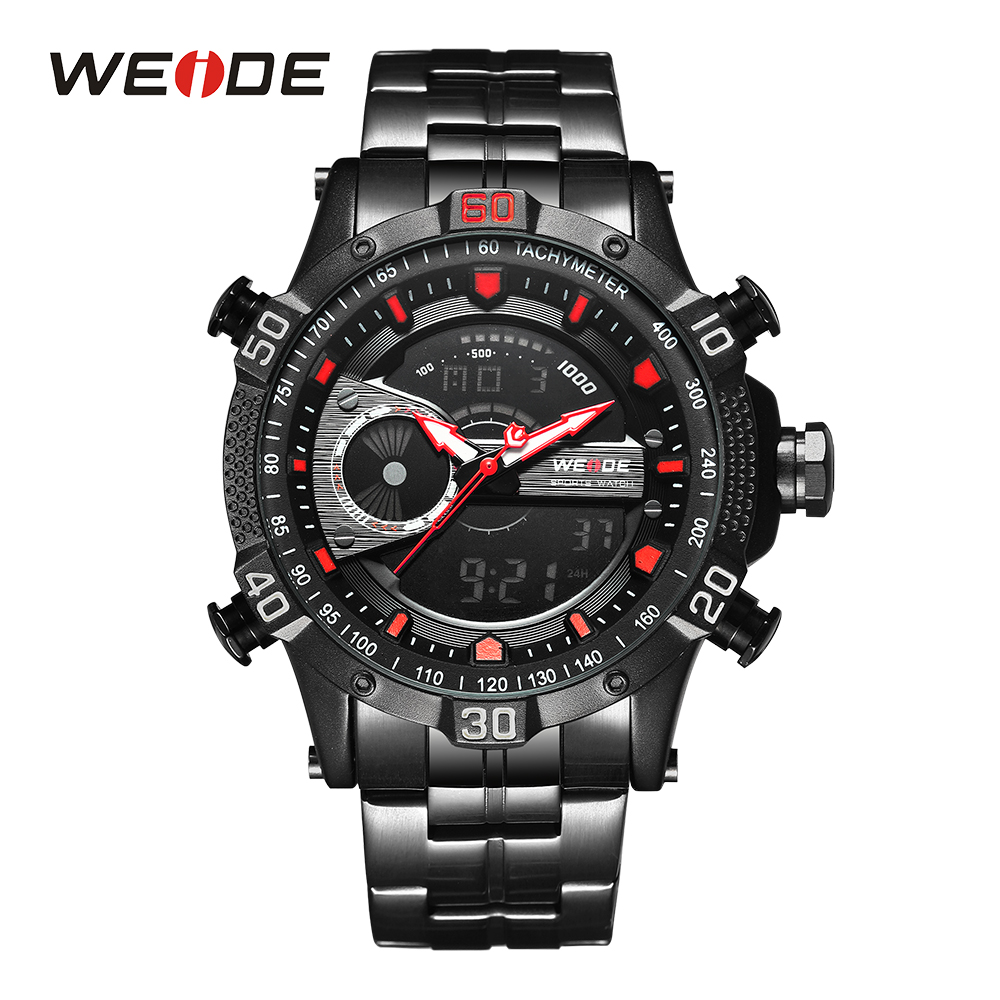 WEIDE Men Black Watch Digital Movement Stopwatch Sports Wristwatch Clock Date Quartz Stainless steel Band Alarm Day Analog Band weide men black running outdoor date day repeater back light stopwatch sports quartz watch alarm clock strap military wristwatch