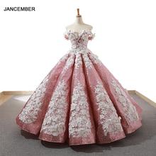 J66662 jancember ピンク大人のドレス 2019 腫れオフレースショルダーホワイト花ボールガウンドレス光沢のある бальное платье