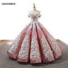 J66662 jancember różowe sukienki quinceanera 2019 spuchnięte off the lace shoulder białe kule kwiatowe suknia wieczorowa błyszczące балное плацие