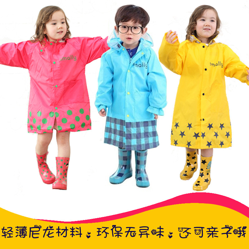 SMALLY Japan Kids Raincoat Waterproof Boys Wears Cartoon Cute Girls Coat in Rainy Day Height 80-150cm