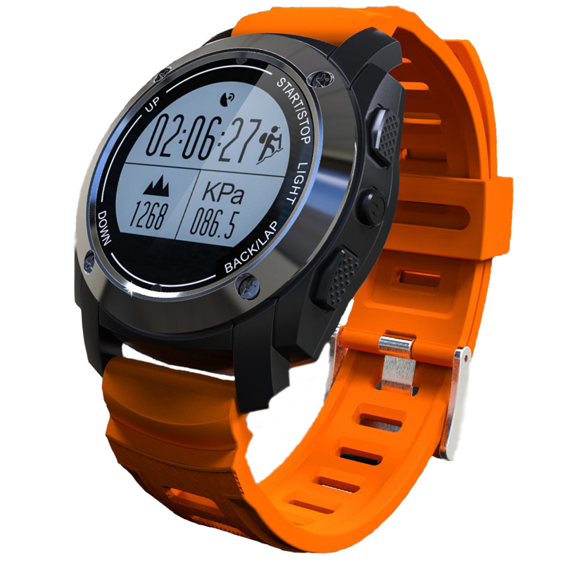 ФОТО GPS Sport Smart Watch F69 Plus GPS Watch With Bluetooth G-sensor Heart Rate Compass Barometer Thermometer For Android IOS