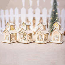Christmas Tree Wooden Lighted Cabin House Xmas Tree LED Light Hanging Wooden Ornaments Holiday Decoration Christmas Pendants New