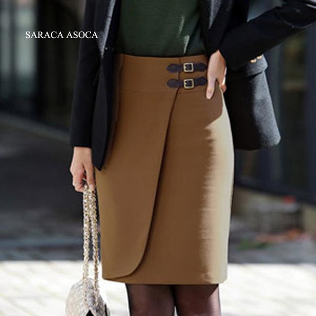 Nuevo Estilo 2 color Sólido Hasta La Rodilla Faldas Formales de las mujeres Más El Tamaño Caliente Falda Recta Autunm Invierno