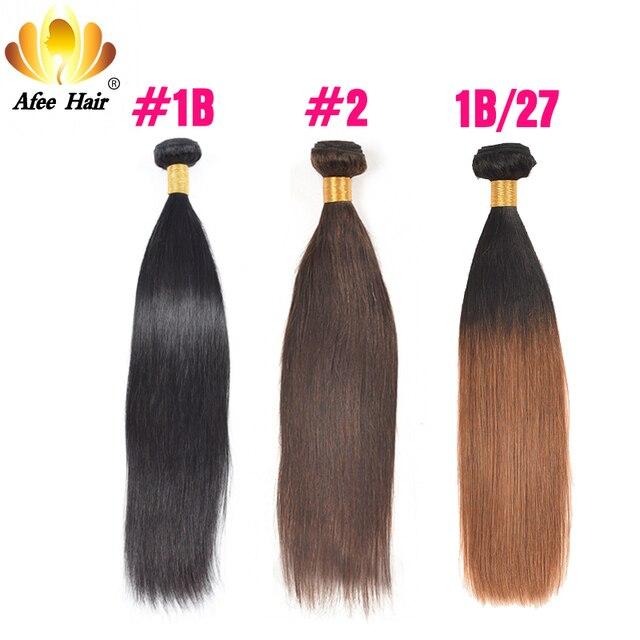 Ali Afee Hair Brazilian Straight Hair Color #1B, #2, T1B/27 Ombre Human Hair Bundles 1 PC Non Remy Hair Extension No Shedding