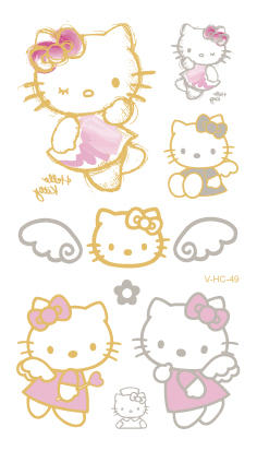 16 New Water Transfer Tattoo Golden Gold Design Cute Pink Hello Kitty Fake Glitter Metallic Temporary Tattoo Stickers Body Art 13