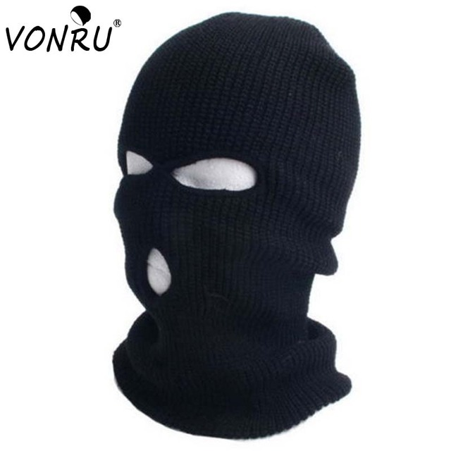 Fashion Winter Warm Balaclavas Full Face Cover Mask Hat Robber Cool Knitted  Beanies Cap for Men Head Neck Balaclava Caps 2f36b5beaba