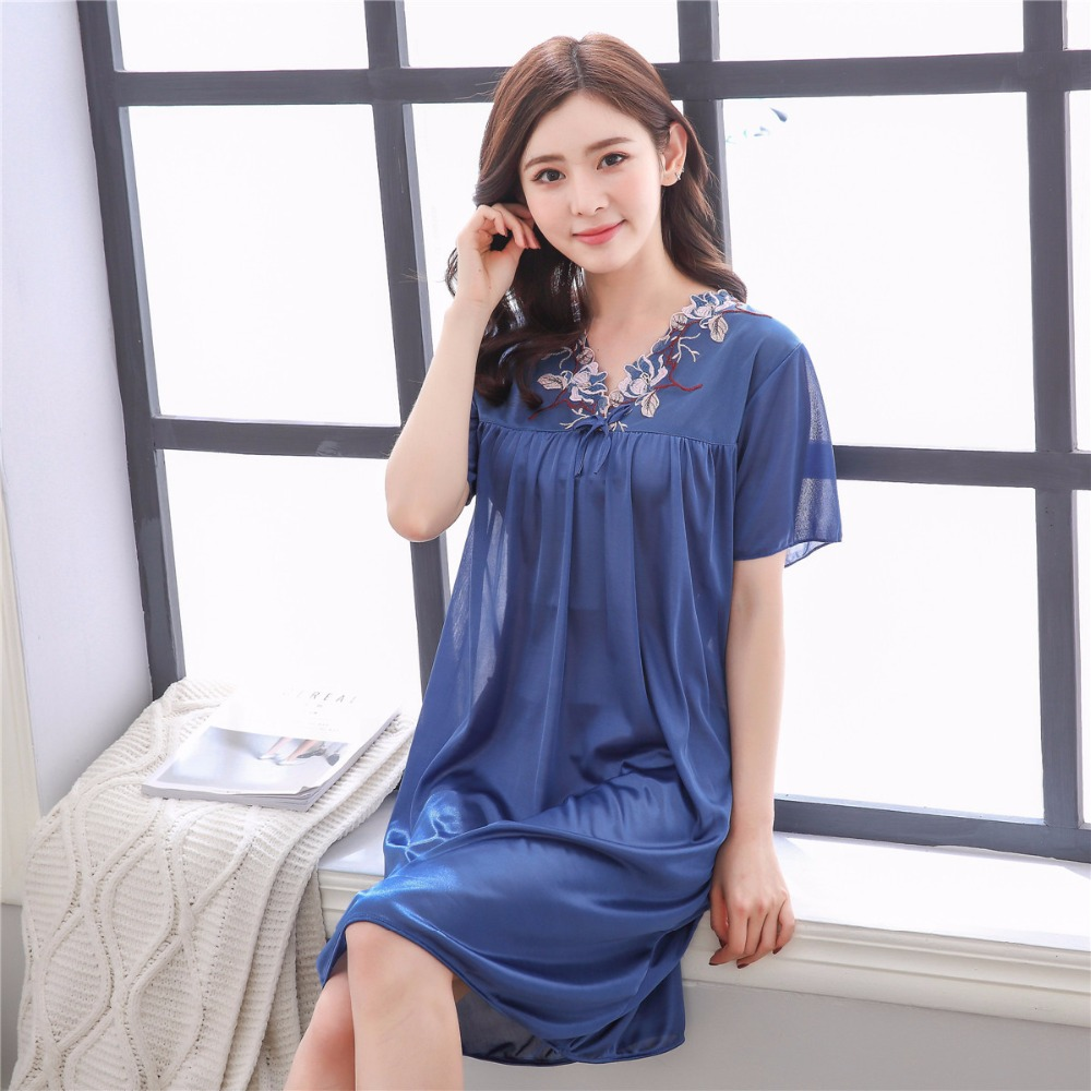 2019 new free shipping girl's   Nightgowns   &   Sleepshirts   sleepwear female summer   nightgown   sexy sleepwear   nightgown   silk sleepwear