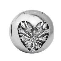 Coeur de L'hiver Clip Charmes Convient Pandora Bracelet Authentique 925 En Argent Sterling Perles BRICOLAGE Fabrication de Bijoux Berloque Gros