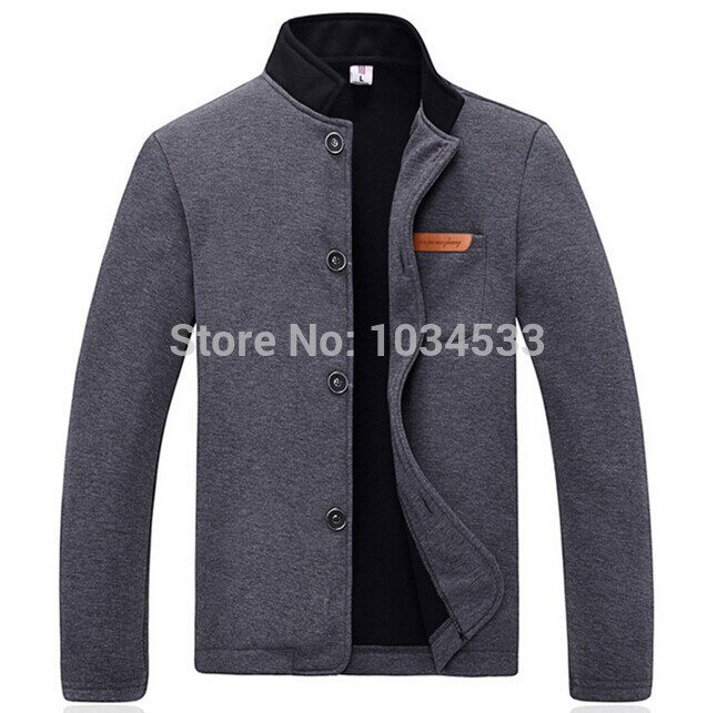 New Style Fleece Jacket Coat Mens Casual Slim Cotton Collar Single breasted Long Sleeved ...