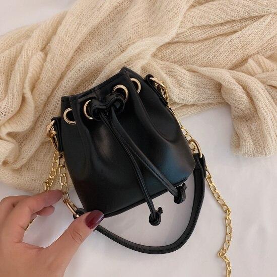 Mini Pu Leather Bucket Bags...