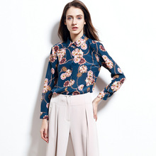 Шелковая рубашка Весенняя новая женская одежда Европейская и американская печатная шелковая рубашка женские топы, женские блузки