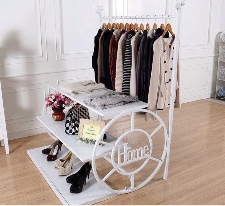Tie yi European floor clothing display rack bag display rack side rack iron clothing