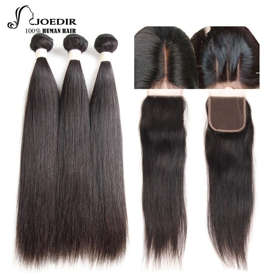 Joedir Hair Pre-Colored Human Hair Bundles Med Stängning Brazilian - Mänskligt hår (svart)