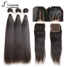 Joedir Hair Pre-Colored Human Hair Bundles Med Stängning Brazilian Hair Straight Non Remy 3 Bundlar With Closure Gratis frakt