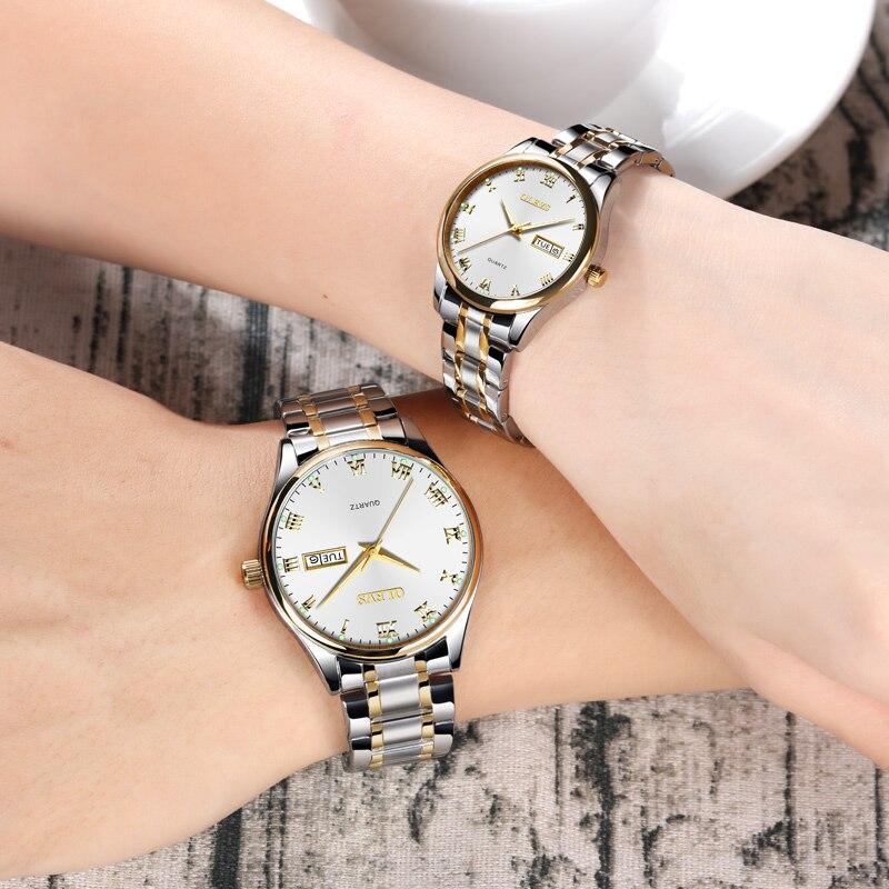 Пара часов для мужчин женщин кварцевые наручные часы OLEVS Элитный бренд нержавеющая сталь световой розовое золото любителей часы erkek коль saati