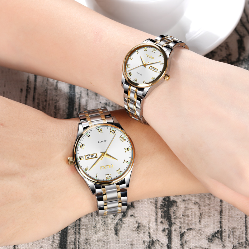 Couple Watch men women quartz wristwatches OLEVS Luxury brand Stainless Steel Luminous rose gold Lovers watches erkek kol saati цена