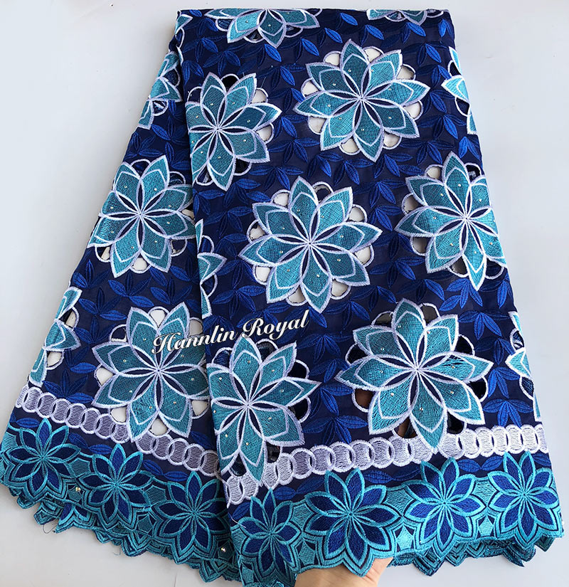 5 yards blue Swiss voile lace African lace fabric Allover Eyelet Holes High Quality 5 yards