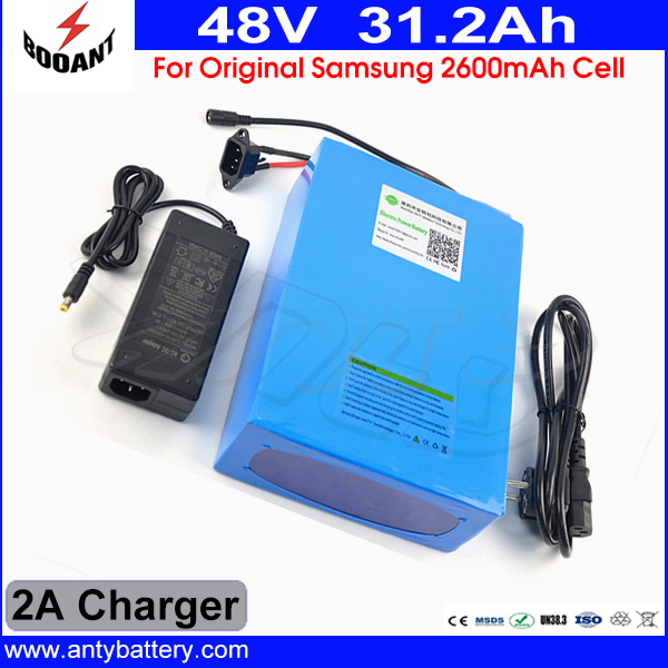 Lithium ion Battery Pack 48v 31.2ah For 2.6A Samsung 18650 Cells with 2A Charger for eBike Battery 48v Free Shipping and Duty free customs taxes high quality skyy 48 volt li ion battery pack with charger and bms for 48v 15ah lithium battery pack