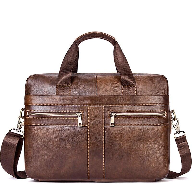 14 Inch Herren Aktentasche Taschen Laptop Handtasche Messenger Tasche Aus Echtem Leder Männer Aktentaschen Solide Braun Schulter Taschen Wasserdicht