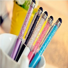 1 pcs/Lot Cute Crystal pen Diamond ballpoint pens Stationery ballpen 2 in 1 crystal stylus pen touch pen Free Shipping