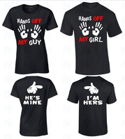 Matching Couple T Shirts Hands Off My Guy Girl Tee Shirts I M Hers His Mine