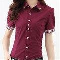 Alta Qualidade Mulheres Blusas Casual Xadrez Patchwork Camisa Blusa Mulheres Tops Blusas Plus Size S-6XL Manga Curta Blusa Camisas