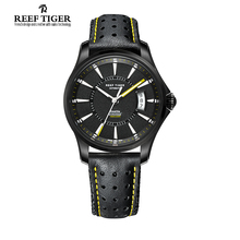 Reef Tiger/RT Watches Seattle Black Steel Case Watch With Leather For Mens Automatic Watches Big Date Super Luminous RGA166