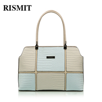 RISMIT Women Bag 100% Genuine leather Women Handbag Hot Selling Tote Color collision Women Bag Large Bags Sales Three styles 102