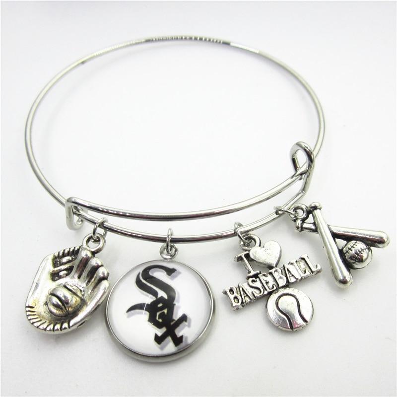 New 10pcs Chicago White Sox Baseball Sports Bracelets US Macroporous European Bracelet&Bangles adjust Bangles Jewelry charms
