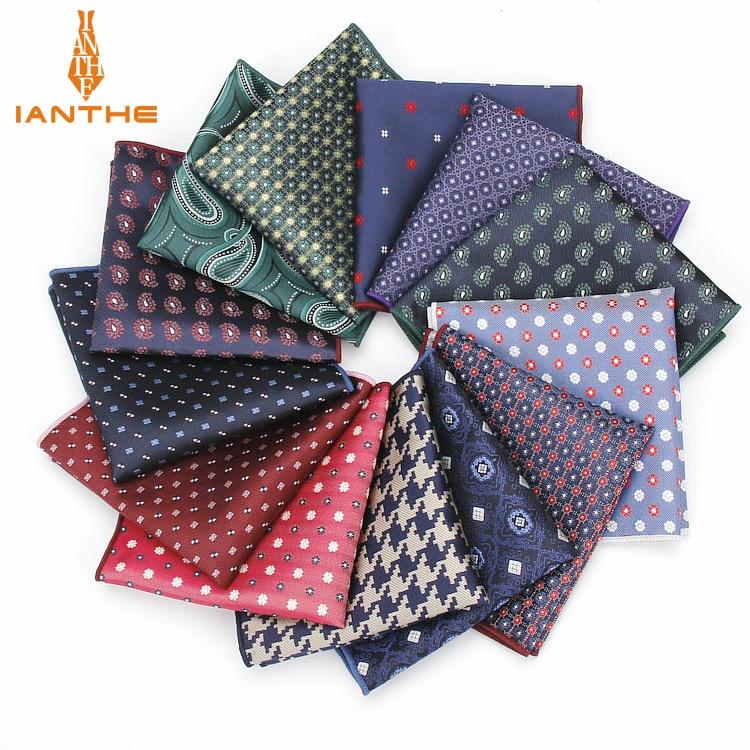 Paisley Floral Men Silk Satin Pocket Square Hanky Jacquard Woven Classic Wedding Party Handkerchief Vintage Dot Hankies